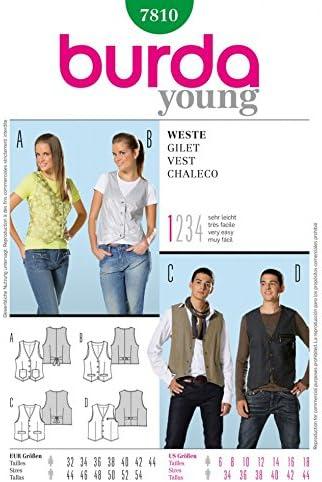 Burda para hombre de mujer y Young patrones de costura para 7810 fácil de moda - Chalecos tamaños: 6-18/34-44