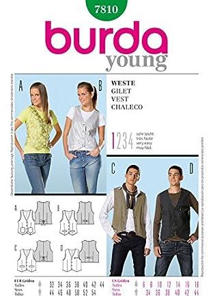 Burda Herren & und Damen Young Fashion Damen Schnittmuster 7810 ...