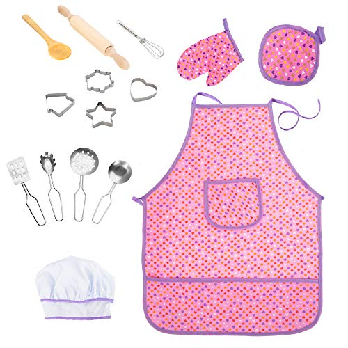 Acekid Chef Set for Kids, Girls Waterproof Apron