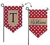 Evergreen Enterprises 14B3477TFB Polka-Dot Welcome Monogram Letter T Garden Flag