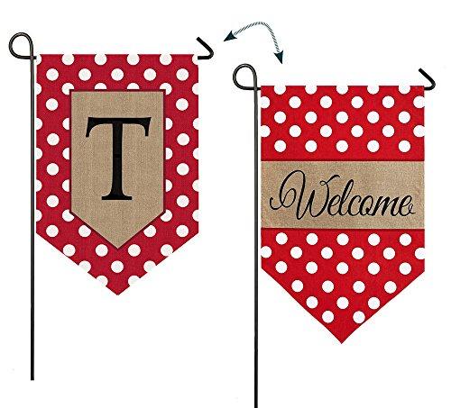- Evergreen Enterprises 14B3477TFB Polka-Dot Welcome Monogram Letter T Garden Flag