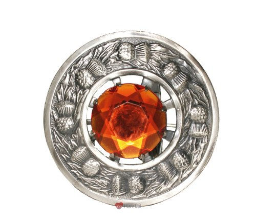 (iLuv Thistle Plaid Brooch with Topaz Stone Antique)