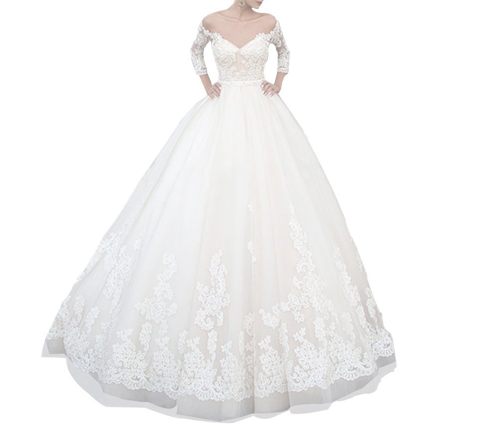 Cloverdresses Sweetheart Sheer Neck Travel Ball Gown Lace Wedding Dress With Sleeve For Women's