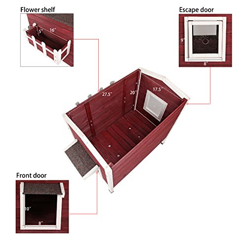 Petsfit-Outdoor-Cat-Shelter-LargeCat-House-Condo-With-Escape-Door-Small-Outside-Small-Dog-House-Red