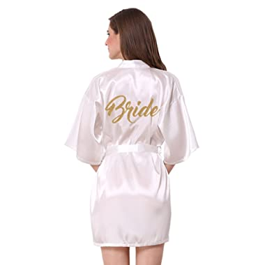 JOYTTON Satin Kimono Wedding Party Getting Ready Robe with Gold Glitter