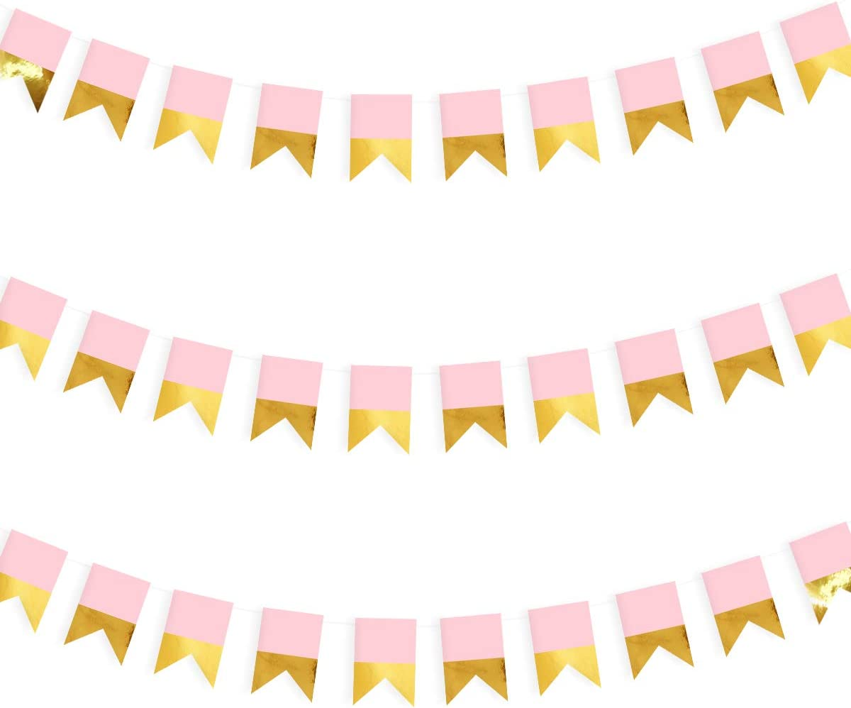 39.4ft Gold and Pink Banner Party Decorations Gold Fishtail Paper Bunting Banners Hanging Flags Streamers for Baby Shower Nursery D/écor Birthday Engagment Party Kids Home Girls Room Wall D/écor