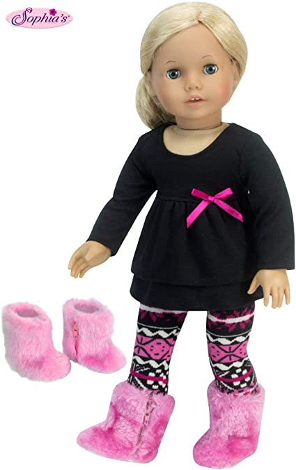 """Pink Black Fair Isle Leggings for 18/"""" American Girl Doll Clothes Accessories"""