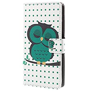 MTP Xiaomi Mi 4i Funda Elegante, Cover, Funda dura integrada, Bookstyle Book Case, Carcasa con Función de Soporte - Estilo Cartera - Búho Verde