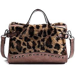 Rfvbnm Fashion Furry Handbag Female Retro Leopard Tattoo Crossbody Bag Hundred Rivets Shoulder Bag Pink