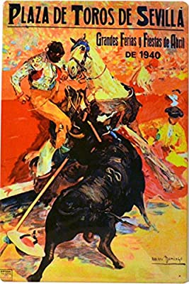 ART ESCUDELLERS Cartel Póster publicitario de Chapa metálica con diseño Retro Vintage de Catalunya/España. Tin Sign. 50 cm x 33,50 cm (Plaza DE TOROS DE Sevilla 1940): Amazon.es: Hogar