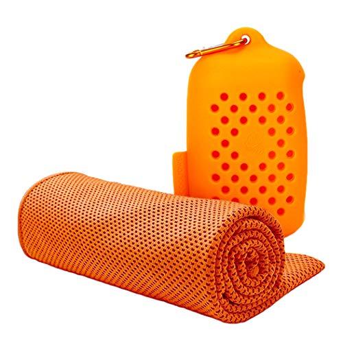 [해외]차가운 수건 속 건 수건 여행 수건 초 흡수 경량 스포츠 타월 일사병 방지 실리콘 파우치 100 × 30cm 7 색 「 여행목욕스포츠운동등산캠핑에 안성맞춤 」 오렌지 / Cool towel quick drying towel travel towel super absorbent light weight sport...