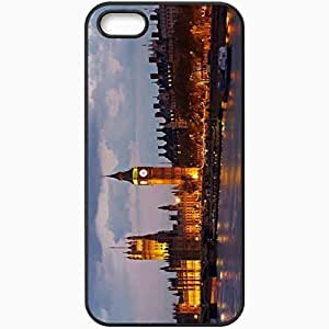 Protective Case Back Cover For iPhone 5 5S Case Big Ben United Kingdom England London Palace Of Westminster River Black