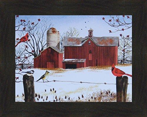Winter Friends by Billy Jacobs 16x20 Red Barn Cardinals Birds Snow Seasons Fencepost Framed Folk Art Print (2