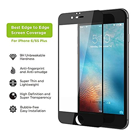 iPhone 6s Plus Screen Protector, Simpiz Shield Crystal Clear Ultra Thin Touchscreen Accuracy Hard 9H Tempered Glass Screen Cover for iPhone 6 Plus & iPhone 6S Plus - With Edge to Edge Black (Iphone 4s Privacy Screen 3m)