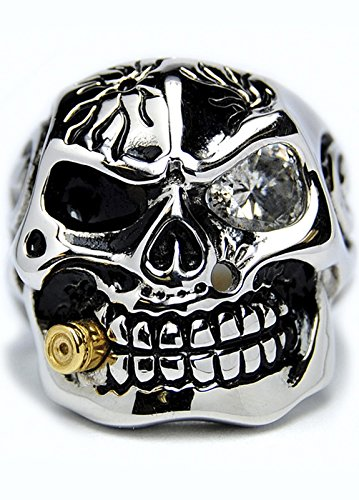 Casted Stainless Steel Skull Ring with Cubic Zirconia & Bullet Size 15