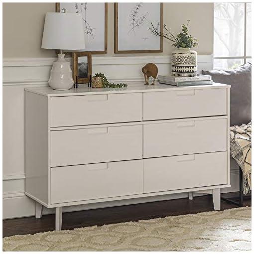 Bedroom 6-Drawer Groove Handle Wood Dresser – White