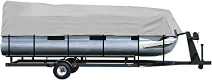 US 17-19 Foot Four Seasons Waterproof Pontoon Boat Cover with Storage Bag Gray