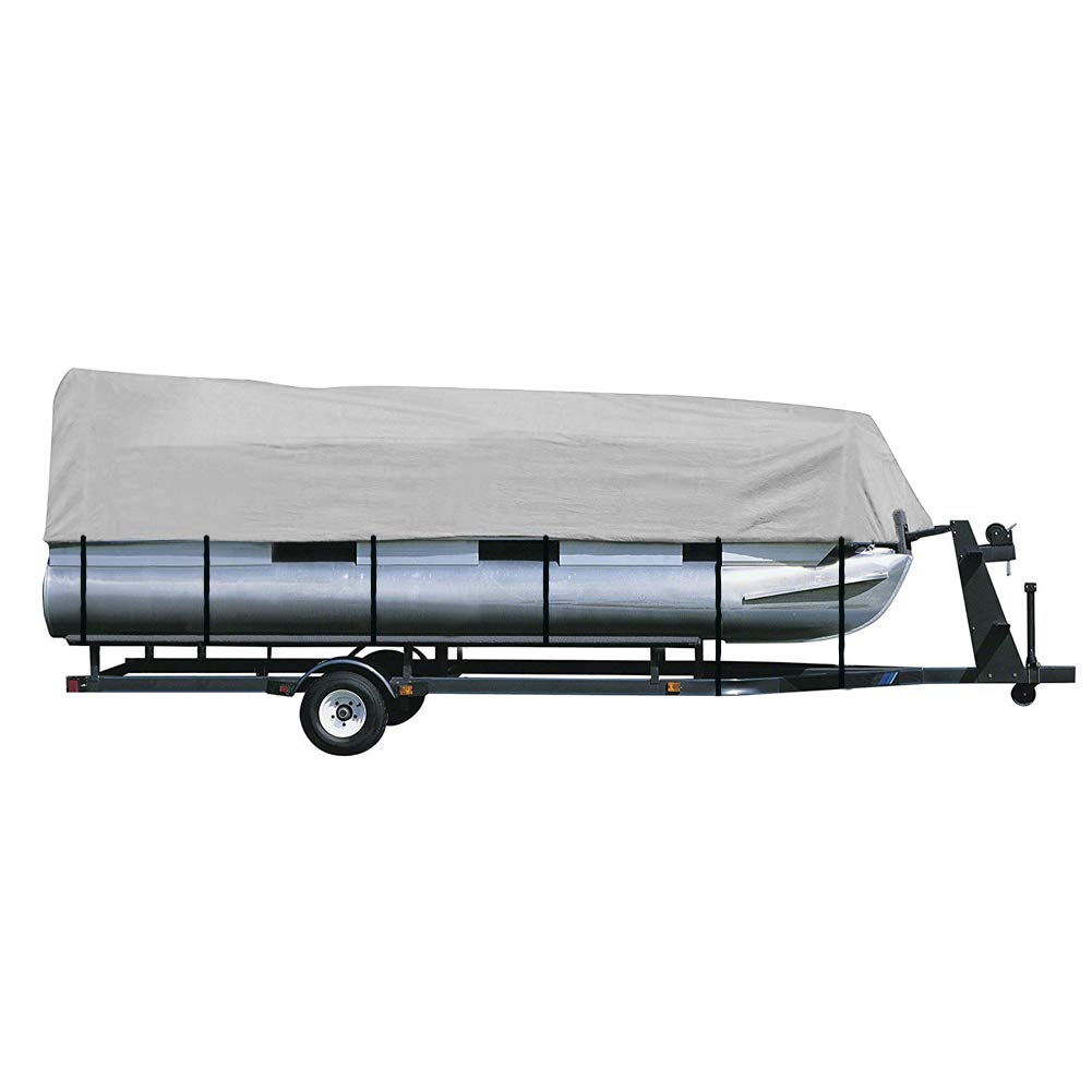 iCOVER Trailerable Pontoon Boat Cover with Storage Bag, Waterproof StormPro Heavy Duty, Polyester Fade-Resistant Fabric, Fits Pontoon Boat 21ft to 24ft Long & Beam Width up to 102in,Grey PB6303B. by i COVER