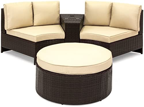 Best Choice Products Wicker Curved Corner Patio Sectional Set with Cushions and Round Ottoman Table – Tan and Brown