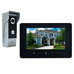 AMOCAM Wired Video Doorbell Phone, 7″ Video Intercom Monitor Doorphone System, Wired Video Door Phone HD Camera Kits Support Unlock, Monitoring, Dual-Way Intercom for Villa House Office Apartment