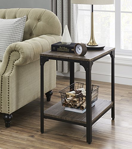 "O&K Furniture 24"" Height Square End/Side Table/Night Stand with Open Bottom Shelf, Gray-Brown(1-Pcs)"