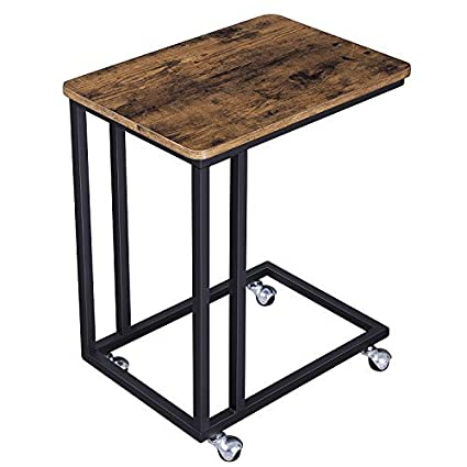 end table glass songmics vintage snack side table mobile end table for coffee laptop tablet slides next amazoncom
