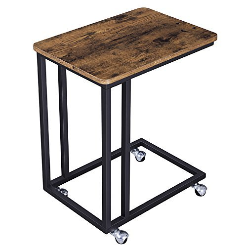 VASAGLE Vintage Snack Side Table, Mobile End Table for Coffee Laptop Tablet, Slides Next to Sofa Couch, Wood Look Accent Furniture with Metal Frame and Rolling Casters ULNT50X