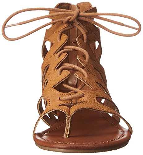Rampage Women's Santini Cutout Lace-Up Open Toe Ankle Strap Gladiator Sandal,  Cognac , 7.5 M US