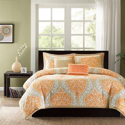 Intelligent Design Senna Comforter Set Full/Queen Size - Orange/Taupe, Damask – 5 Piece Bed Sets – All Season Ultra Soft Microfiber Teen Bedding - Great for Guest Room and Girls Bedroom