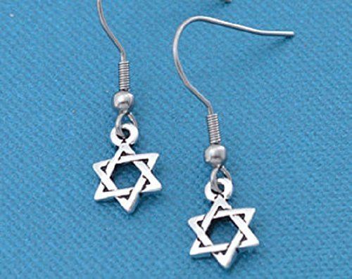 Star of David earrings in silver pewter. Star of David charms. Jewish jewelry. Jewish gifts. Jewish star.