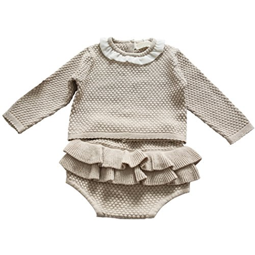 Wennikids Baby Girls Long-Sleeved Cadigan Sweater and Ruffle Bloomer Shorts Clothing Set Small Gray
