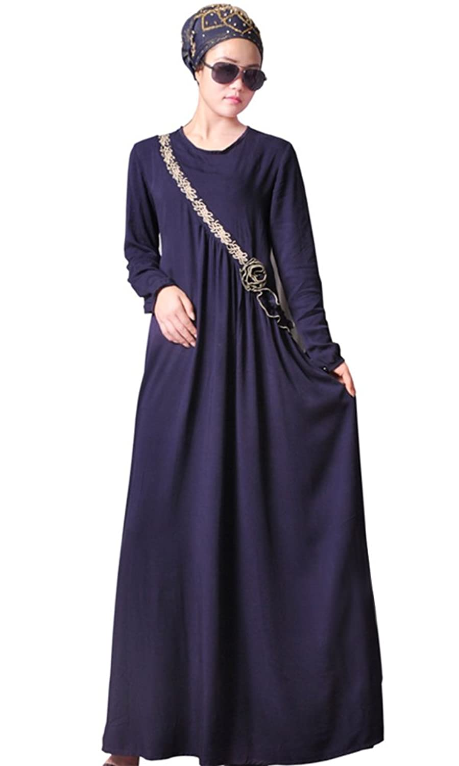 Ababalaya Abaya Muslim Women's Long Sleeve Casual Maxi Dress