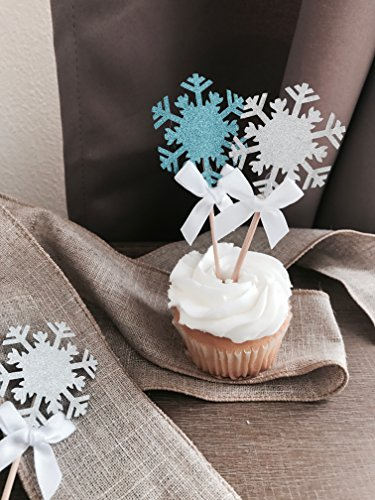 Snowflake Cupcake Toppers - Light Blue & Silver With White Bows. Perfect For Christmas Party, Frozen Theme Party,Winter Wonderland Party Decoration, And Holiday Celebration -12 CT. -