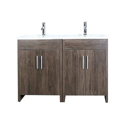 Astonishing Goodyo 48 Inches Melamine Bathroom Vanity Set Oak Wood Beutiful Home Inspiration Truamahrainfo