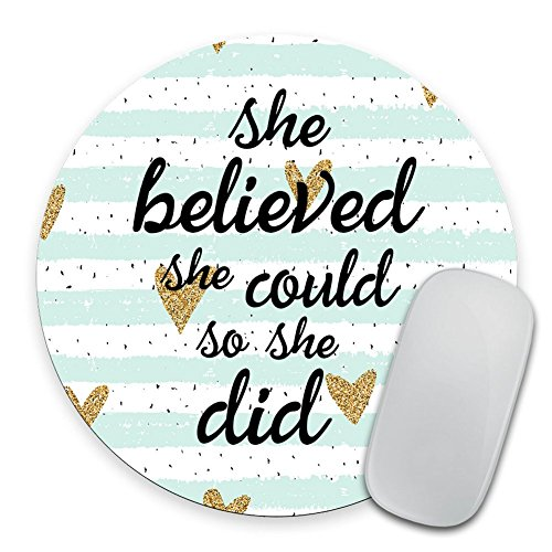 (Quote Mousepad, She Could Mouse Pad, Watercolor Mouse Mat, Custom Round Mousepad, Heart Mousepad, Inspirational Quote Mousepad Motivational Quote)