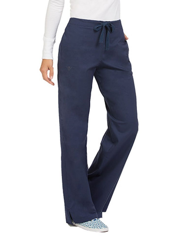 Med Couture Drawstring Signature Scrub Pants for Women, New Navy, XX-Large