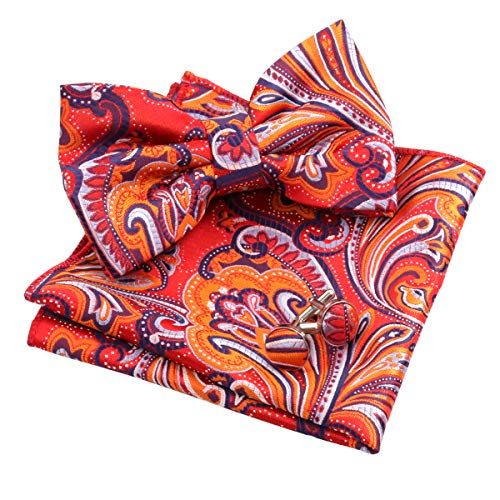 Bow Tie Pocket - Alizeal Mens Multi-color Floral Pre-tied Bow Tie, Pocket Square and Cufflinks Set, Orange+Navy+Red