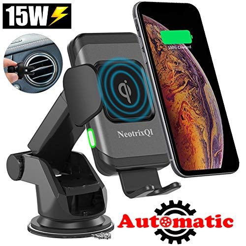 Lenture 15W Wireless Car Charger, Qi Fast Charging Automatic Clamping Air Vent & Dashboard Phone Holder Mount,7.5W/10W/15W Power for iPhone X/Xs Max/Xs/XR/8/8 Plus, Samsung Galaxy Note 9/S9/S9+/S8