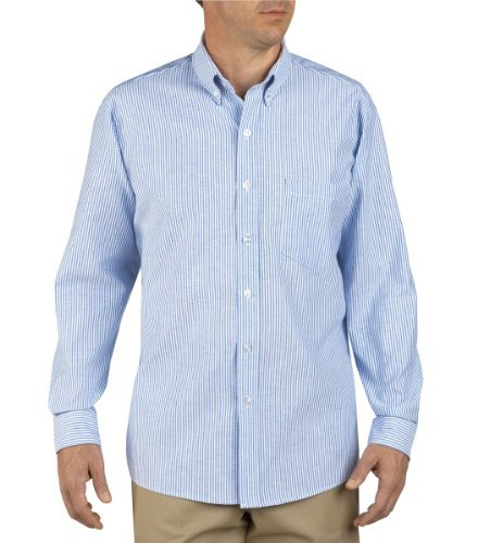 (Dickies - SS36 Button-Down Oxford Shirt - Long Sleeve, Size: 15.5 x Regular, Color: White/Blue)