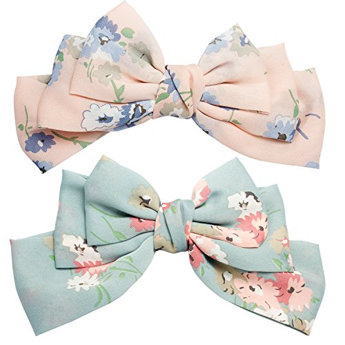 Ondder 2 Pack Big Chiffon Flower 8 Inch Bow Hair Clips Barrettes Soft Large Chiffon Hair Bow Clip Lolita Party Oversize Handmade Girl French Barrette Style Hair (Lolita Bow)