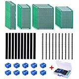 AUSTOR 30 Pcs Double Sided PCB Board Prototype 4 Sizes Kit with 20 Pcs 40 Pin 2.54mm Male and Female Header Connector for DIY (Bonus: 10 Pcs Screw Terminal Blocks)