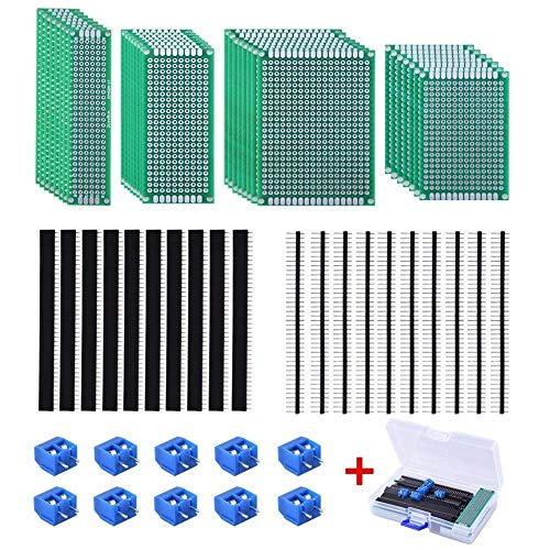 AUSTOR 30 Pcs Double Sided PCB Board Kit 4 Sizes Circuit Board with 20 Pcs 40 Pin 2.54mm Header Connector for DIY(Bonus: 10 Pcs Screw Terminal - Prototype Board