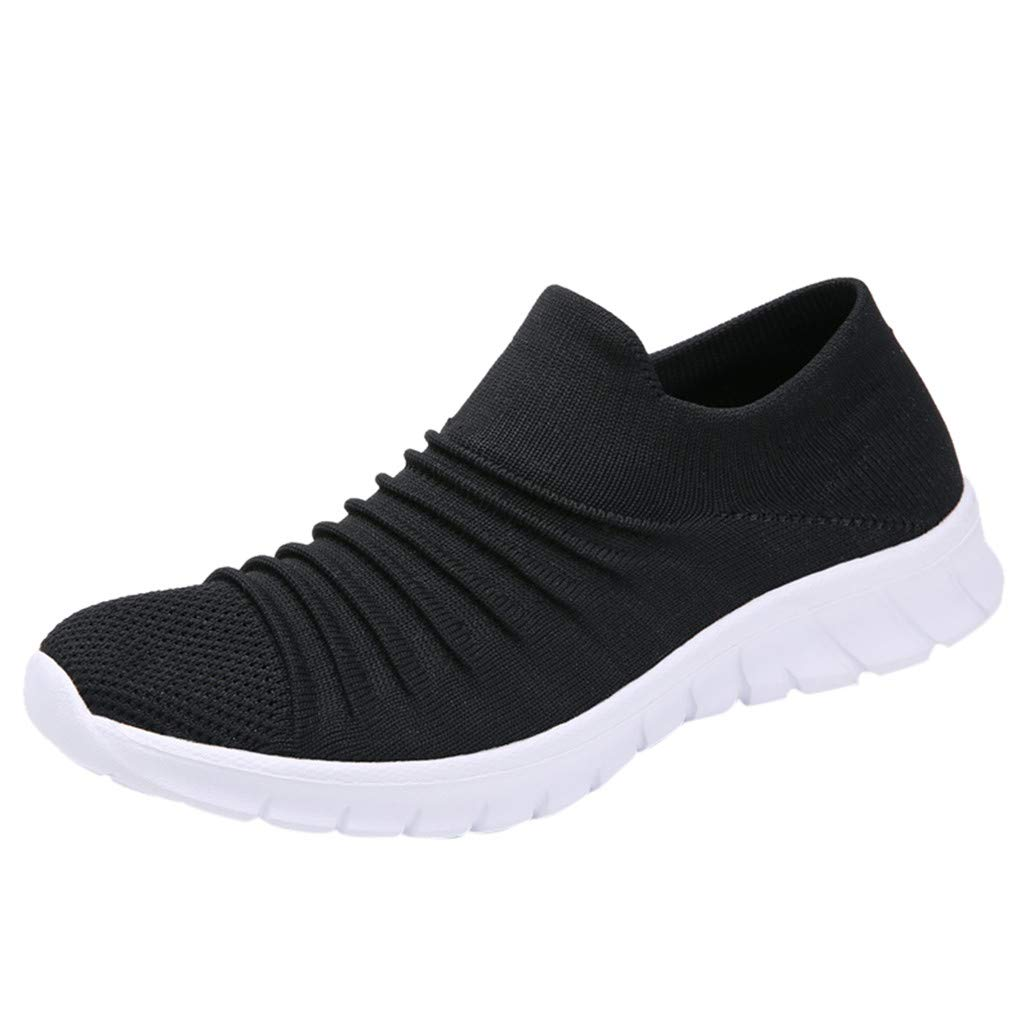 Women Casual Sneakers, LIM&Shop  Summer Outdoor Sports Shoes Mesh Breathable Loafers Soft Sole Flats Running Work Out Black by LIM&SHOP-Sandals & Sneakers