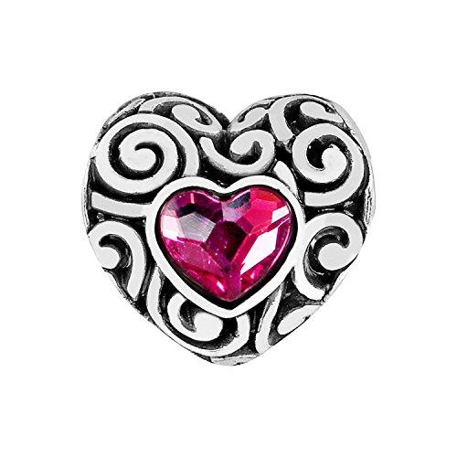 (Brighton Swirly Love Heart Silver Pink Crystal Bead)