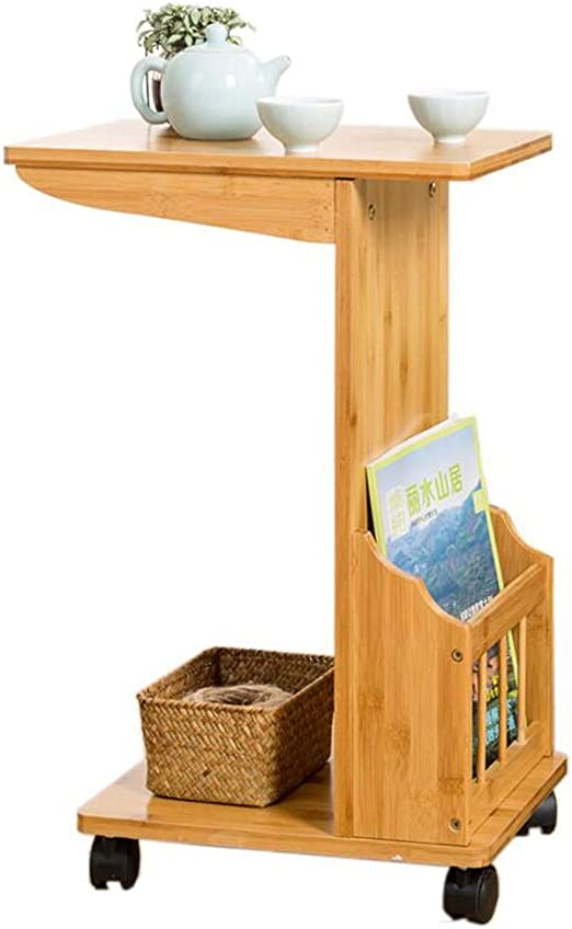 YNN Table Mesa de té Sofá de bambú Mesa Auxiliar Revistero con ...