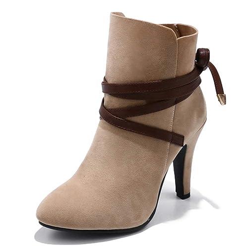 Las Mujeres Atan para Arriba los Botines Punta Redonda otoño Invierno cálidos Tacones Altos Tacones Finos Bombas Tacones de Aguja Cortos: Amazon.es: Zapatos ...