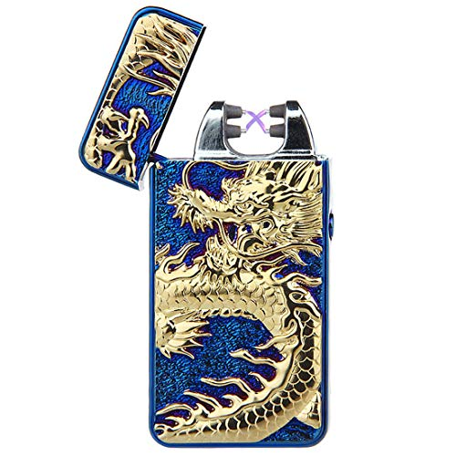 - Pard Relief Dragon Windproof Cross Arc Lighter, USB Rechargeable Flameless Electronic Pulse Arc Cigarette Lighter, Blue