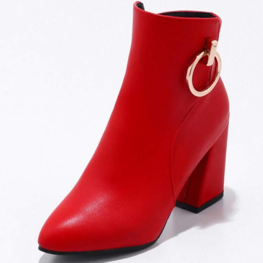 CITW Damenstiefel Metal Schnüffeln Großformat Stiefel Frauen Herbst Und Winter Spitz Damenschuhe Martin Stiefel,rot,UK2 EUR36