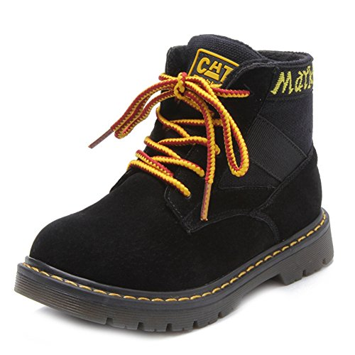 T-JULY Toddler Boys Lace-Up Suede Ankle Martin Boots Winter Warm Non-Slip Comfy Combat Hiking Boots