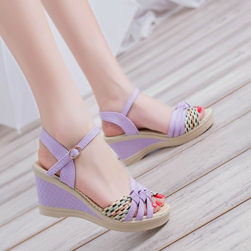 Elegante SHOESHAOGE De Pendiente Ue37 High Pescado Con Dew Gruesos Heeled Boca Sandals Zapatos Ascendente Chica EU40 Braided qtww5Tr6